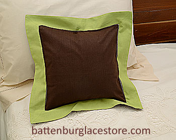 "Pillow Sham 12"" Square. BROWN with MACAW GREEN color border"